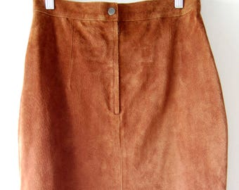 Brown Suede Pencil Skirt // Vintage Midi by Gitano // 90s Leather Skirt // Size 9/10