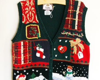 Ugly Holiday Sweater Vest // 90s Christmas Themed Sweater // Size Large