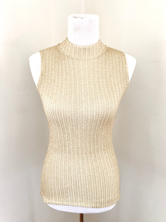 60s Gold Ribbed Tank with Mock Neck // Size Small