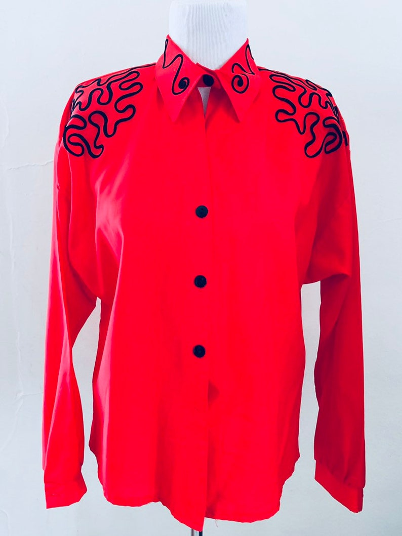 The Delia Deetz Top  Vintage Western Style Red Blouse  80s Top by Avon  Size 1516