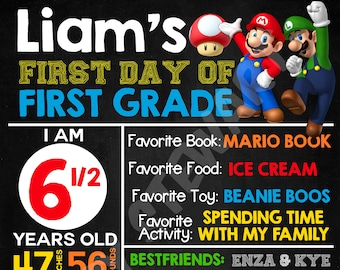 Super Mario Bros  First Day of School / Back to School Sign
