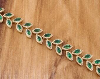 14k Emerald  Diamond Bracelet. 13.25 Carats.  Emerald Bracelet. Diamond Bracelet.