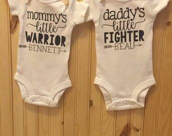 Matching TWINS outfit -- TWO outfits - Mommy's little warrior/Daddy's little fighter