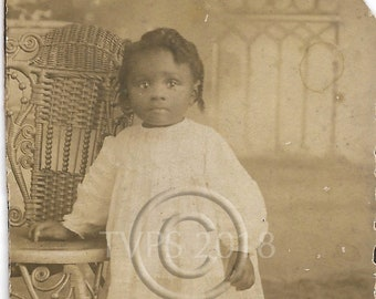 Antique CDV sized photograph - Beautiful African American little toddler girl