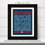 Navy red gray brothers artwork - boys bathroom wall art decor - gifts for twin boys - boys room decor - brothers wall art