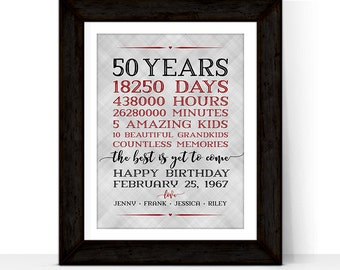 50th Birthday Gift For Men Women Adult Her Him Days Hours Minutes Personalized Dad Mom Grandpa