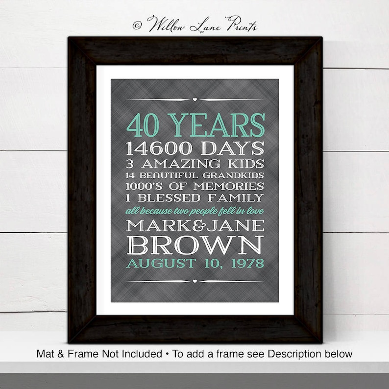40th Wedding Anniversary Gift.40th Anniversary Gift For Parents 40 Year Anniversary 40th Wedding Anniversary Gift For Parents Personalized Gift For Grandparents 40th