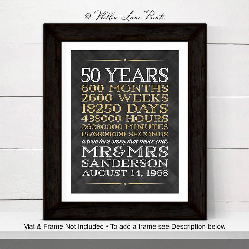 Parents Wedding Anniversary Gift Ideas 50 Years Of Marriage Etsy