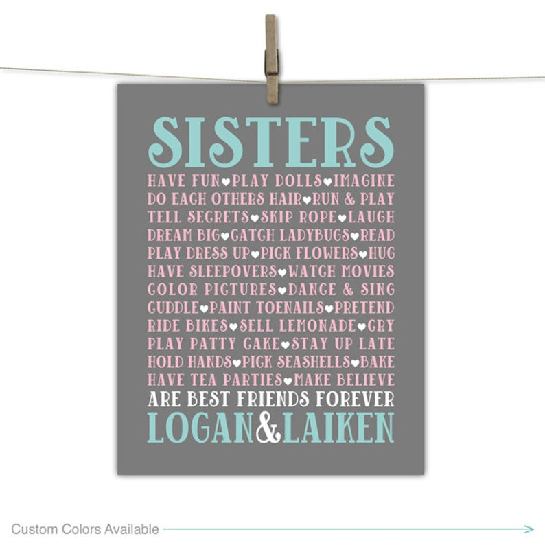 sisters room art  gray mint and pink twin girls nursery or image 0