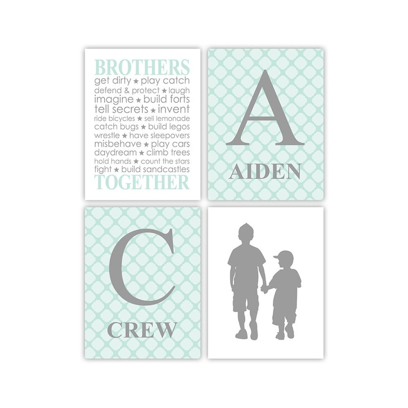Brothers wall decor 4 print set  big brother little brother image 0
