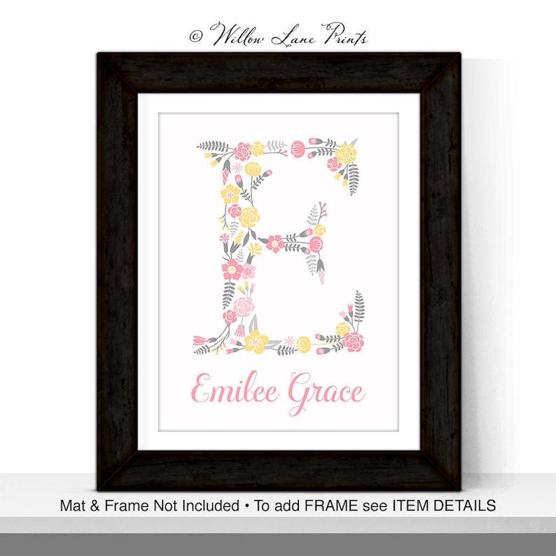 girls flower nursery art  floral monogram letter babies name image 0