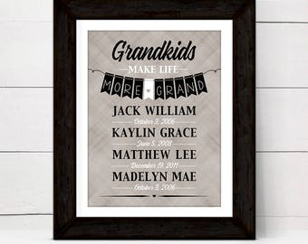 Personalized gifts for grandparents from grandchildren, Grandkids make life grand sign, print or canvas, custom colors