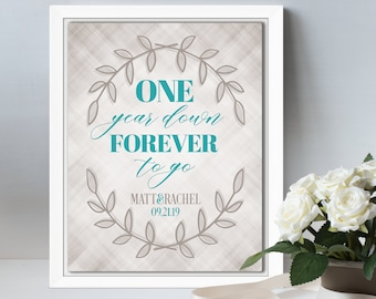 1st anniversary gift for couple paper, first anniversary gift for wife, 1 year wedding anniversary gift for husband, personalized wall art