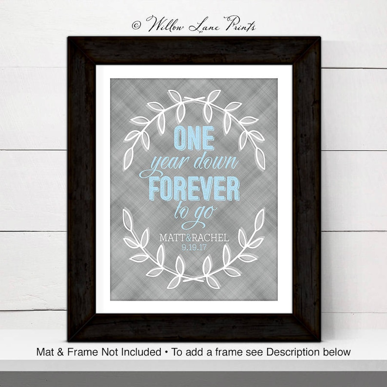 Personalized wall art for couple custom first anniversary image 0