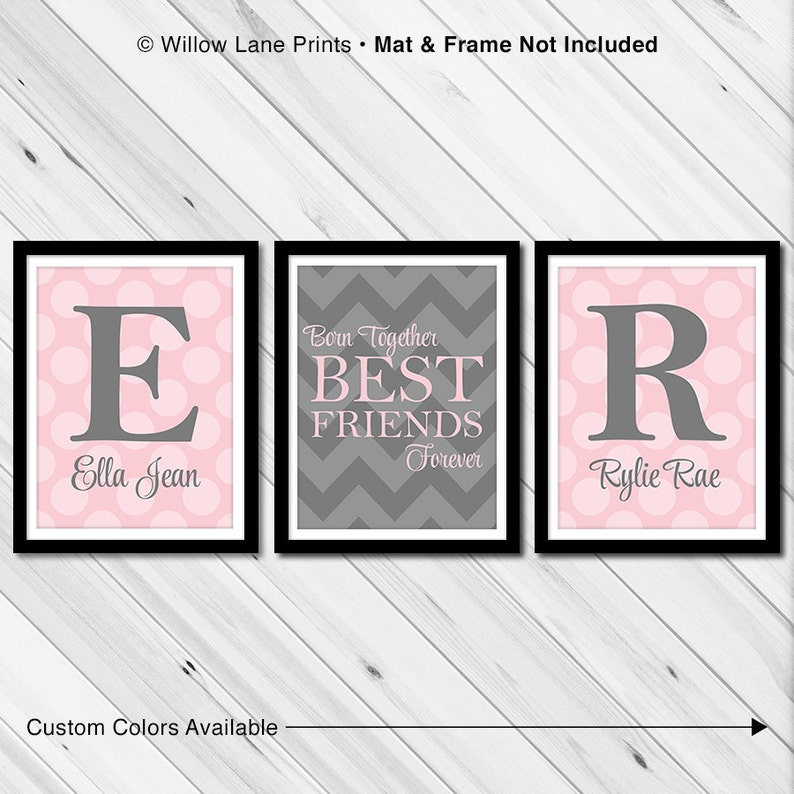 Twin baby girls wall art  twin baby gifts  chevron sisters image 0