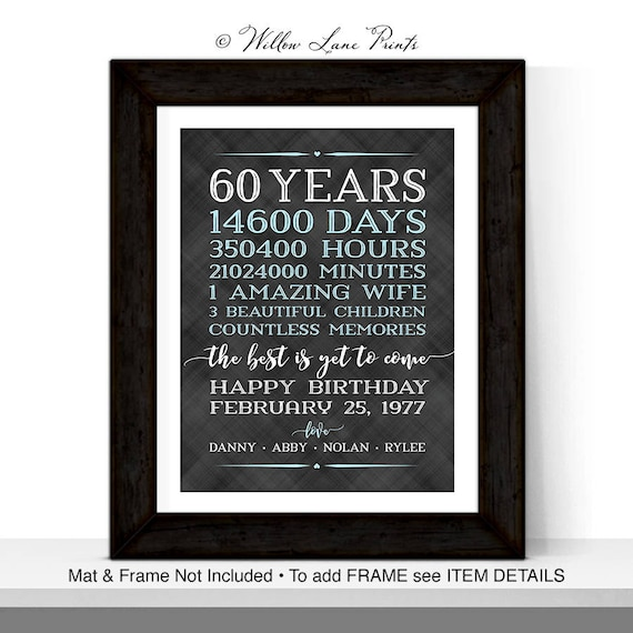 60th Birthday Gifts For Men Him Husband Adult Gift Ideas Decorations Days Hours Personalized