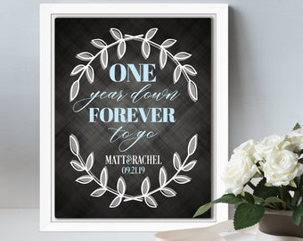 First anniversary gift for her, 1 year wedding anniversary gift for him, 1st anniversary gift for couple paper, personalized canvas wall art