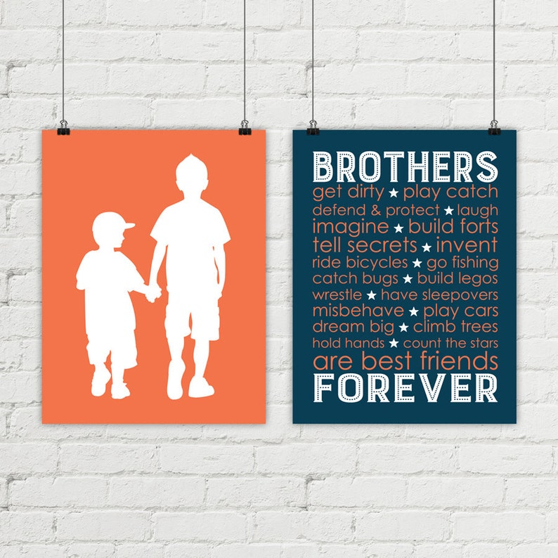kids wall art  brothers bedroom decor  big brother little image 0