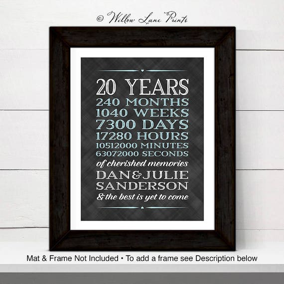 20th Anniversary Gift For Him For Her 20th Wedding Anniversary