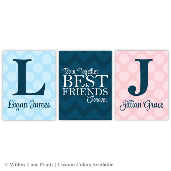 Twin Boy And Girl Nursery Wall Art Twin Quotes Born Together Best Delectable Twin Quotes