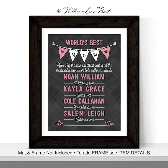 Worlds Best Mom Mothers Day Gift Personalized Birthday For From Kids Daughter In Law Husband