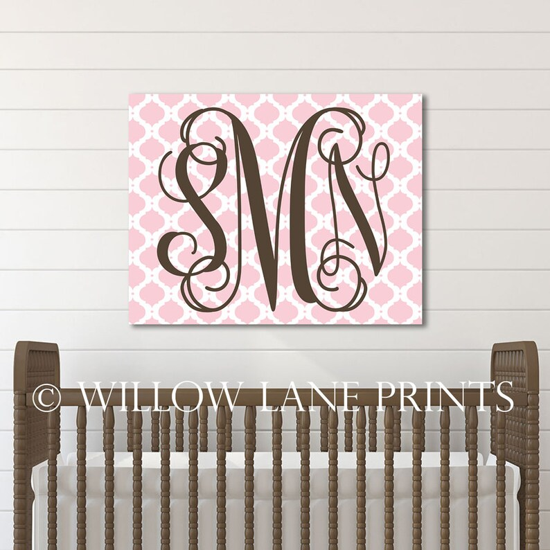 new baby gift personalized pink and brown nursery decor image 0
