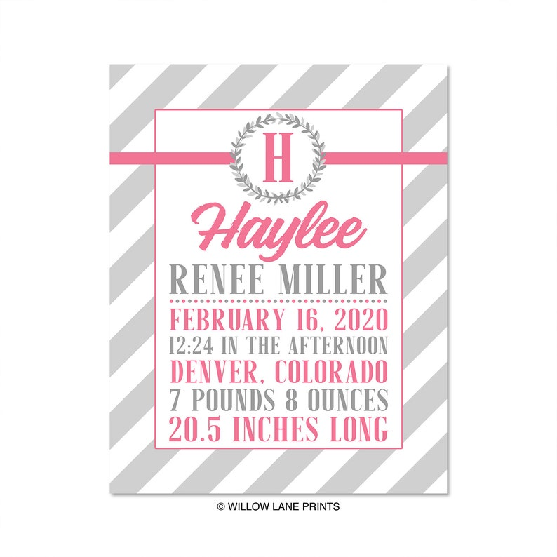 personalized newborn baby girl gift pink and gray nursery image 0