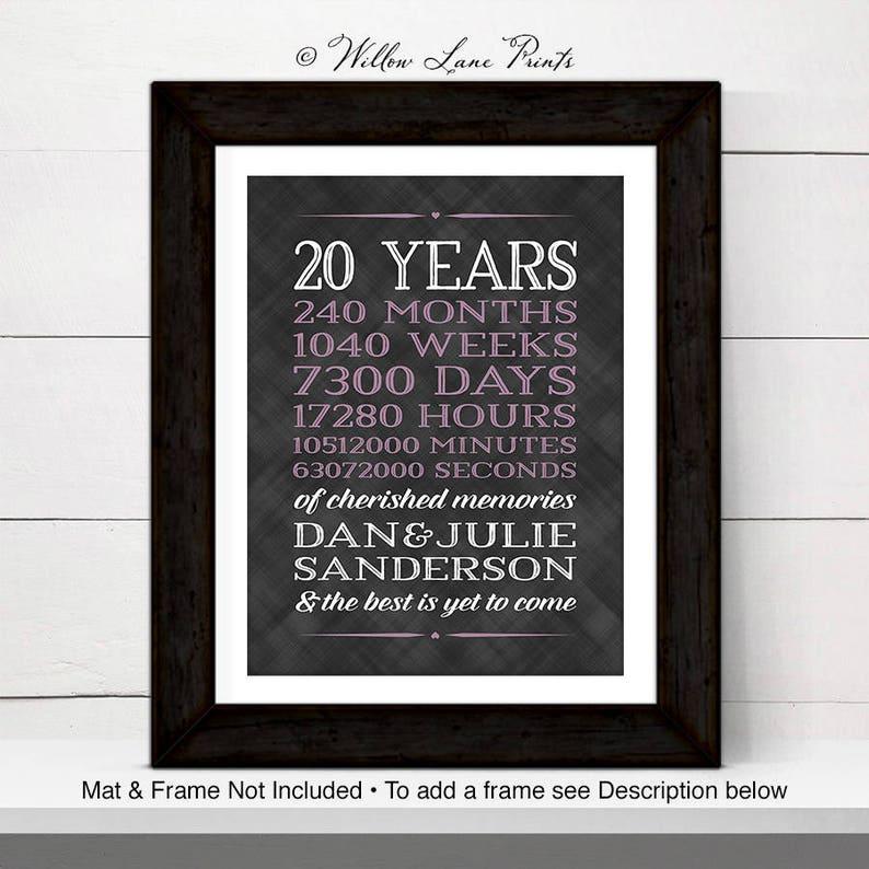 20th anniversary gift for men women 20th wedding anniversary image 0