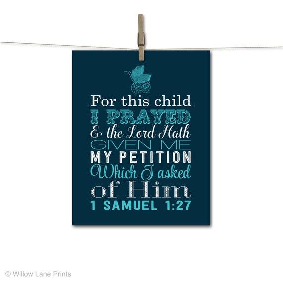 Children's scripture on canvas, bible verse baby art, nursery canvas art, baby boy nursery art, baptism gift, baby shower gift