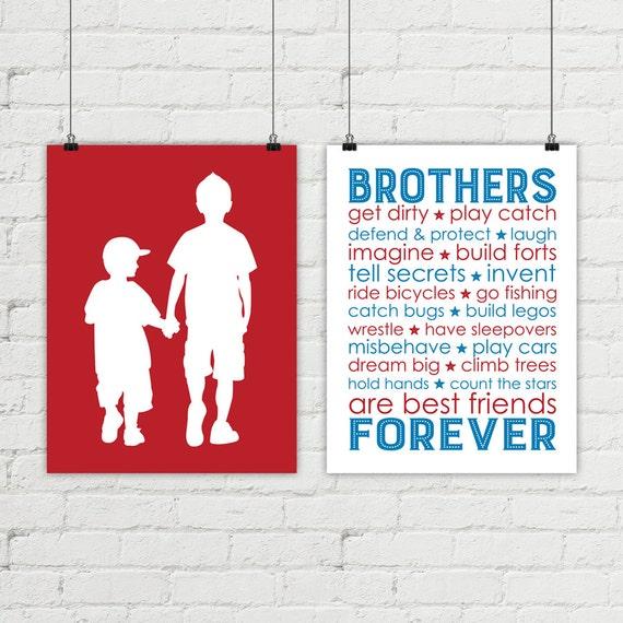custom brothers wall art shared boys room wall art big   Etsy