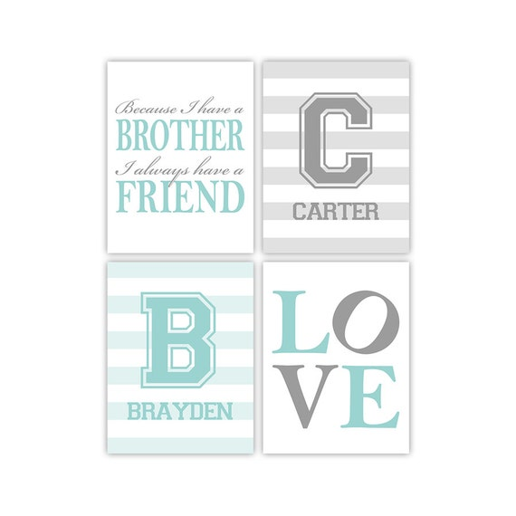 Brother Quotes Twin Boys Nursery Art Print Because I Have Etsy