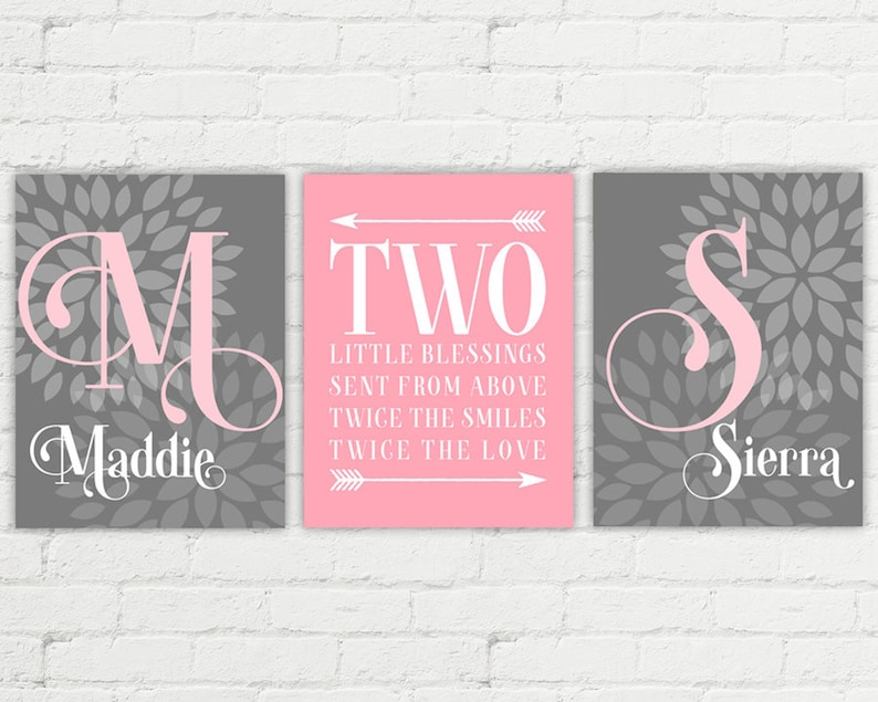 Personalized twin baby girl gifts  nursery wall art  pink image 0