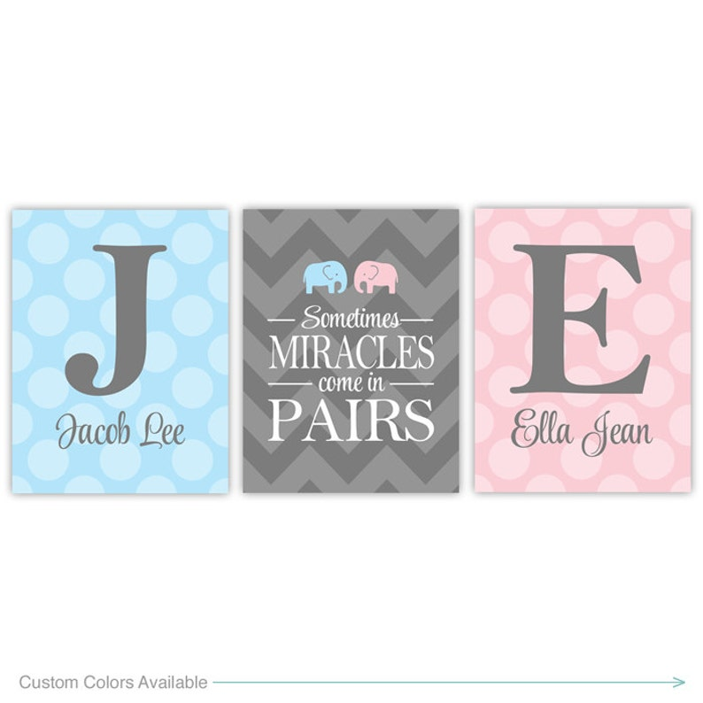 Personalized twins nursery decor with initials  twin boy and image 0