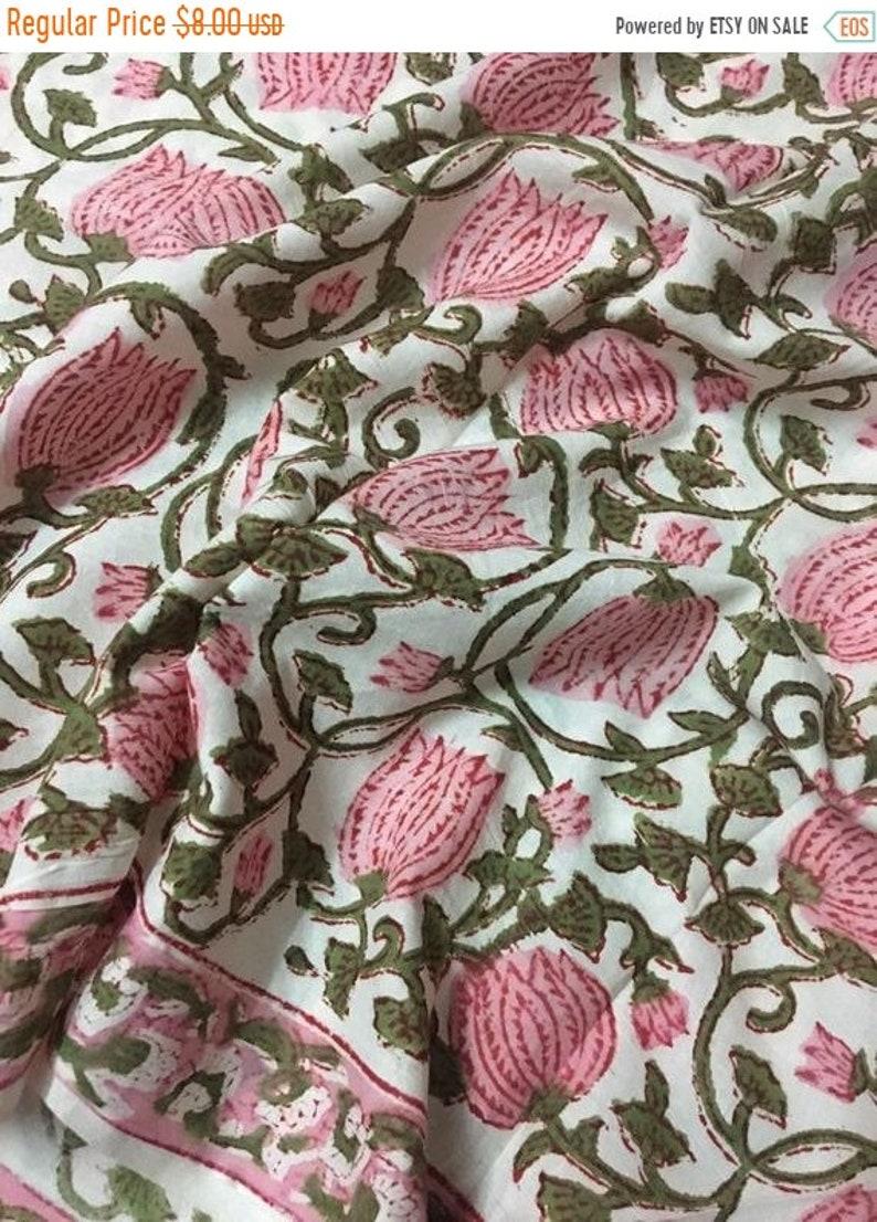 Lotus Floral Print Cotton Fabric Block Print Fabric Modern Etsy