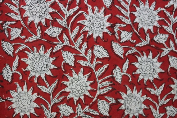 Hand Block Printed Red Fabric, Cotton Fabric, Indian Fabric, fabric by  yard, womens clothing robe, Home decor, dresses, vegetable dyes