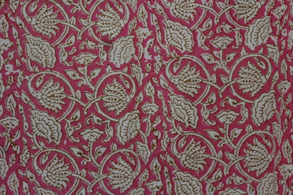 By The Yard Indian Cotton Fabric Light Weight Womens Summer Dress Fabric Hand Block Floral Print Soft Fabric Hand printed fabric Cotton