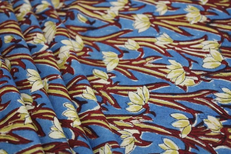 Floral print block print fabric womens clothing Indian fabric cotton fabric girls dress Vegetable dye fabric by yard cotton robe girls dress