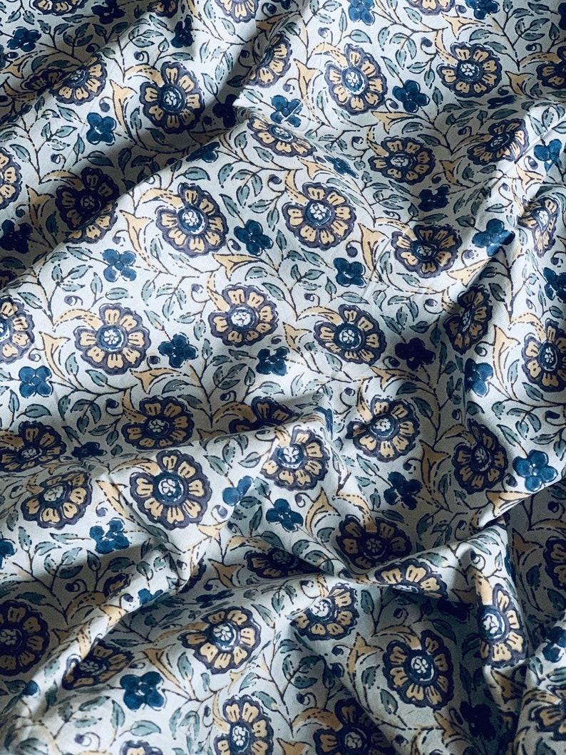 Gray floral print cotton fabric block print fabric modern floral fabric Indian fabric dress cotton robe fabric by yard womens clothing