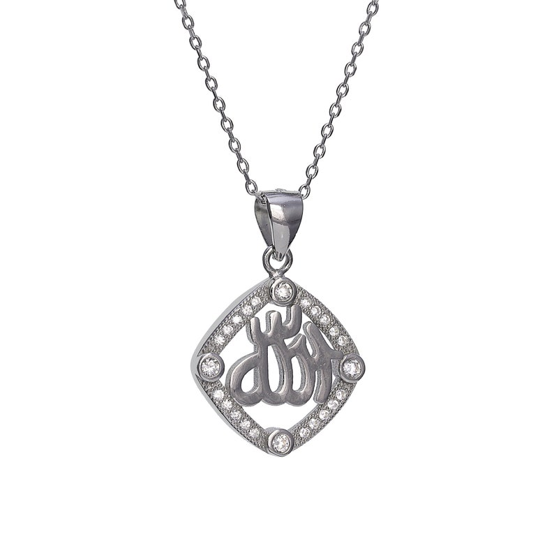 Fashion Necklaces & Pendants Solid 925 Sterling Silver Black & White Pave CZ Oval Pendant Necklace  ' Jewelry & Watches