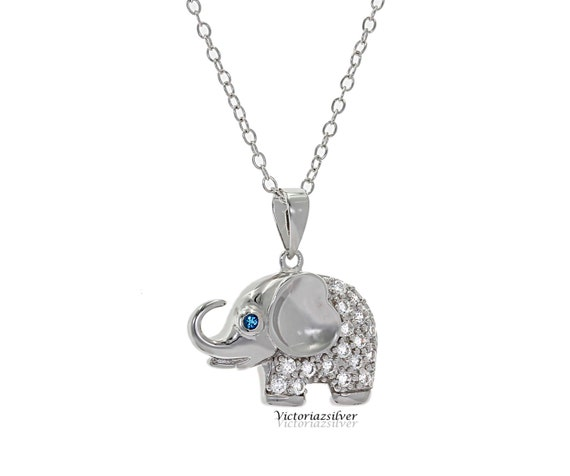 Polished 925 Sterling Silver Lucky Elephant Animal Pendant Necklace