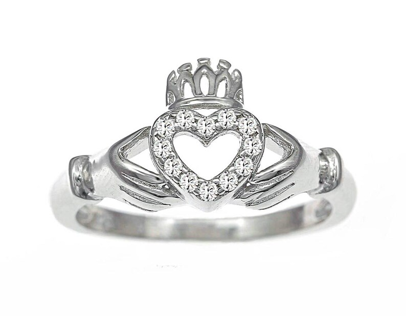 Best Quality Free Gift Box Sterling Silver Rhodium Plated Cz Claddagh Pendant