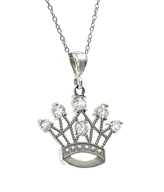 Rhodium Plated 925 Sterling Silver Pave Crown Pendant chain not included White Gold Plated