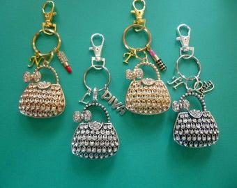 Purse Key Chain, Rhinestone Purse Keychain, Bling Key Chain, Bling Purse Charm, Rhinestone Purse Zipper Pull, Bling Purse Key Chain, K64
