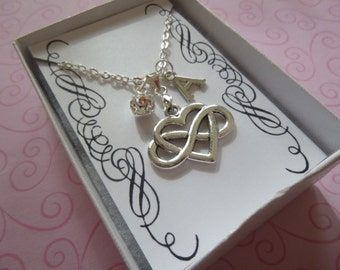 Infinity heart Necklace, Sister's Gift, Daughter Necklace, Personalized Infinity Heart Necklace, Charm Necklace, Bridesmaid Necklace, N26