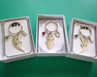 Personalized w/Birthstone BFF Key Chains, Three Key Chains w/Three Boxes and Three Cards, Best Friends Key Chains, BFF Keychains K24