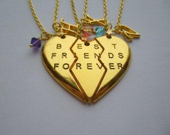Best Friends Forever Broken Heart Necklaces, Best Friends Forever Necklace, Personalized Broken Heart Necklace, Bff Broken Heart Necklace,N4