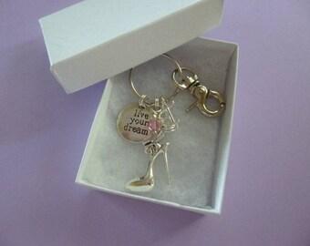 Stiletto Best Friends Key Chain, Personalized Pinky Swear Key Ring, Pinky Swear Key Ring, Personalized Birthstone Charm Key Chain, K17