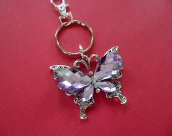 Butterfly Key Chain, Crystal Butterfly Keychain, Bling Butterfly Key Chain, Butterfly Purse Accessorie, Bling Purse Accerssorie, K70