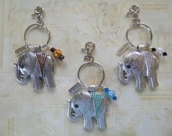 Elephant Key Chain, Large Rhinestone Elephant Purse Charm or Key Chain, Elephant Purse Charm,  Elephant Keychain, Rhinestone Elephant, K44