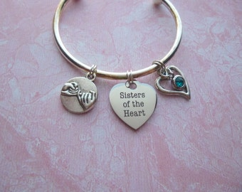 Sisters of the Heart Torque Bangle Bracelet, Interchangeable Charm Bracelet, Sisters Charm Bracelet, Sisters Bangle Bracelet, Sisters Gift